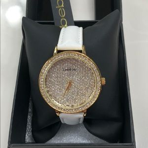NWT BEBE Leather band Crystal Face Watch
